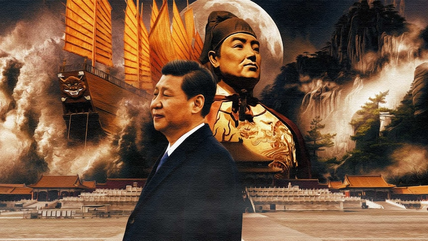 An artistic representation of Xi Jinping next to Zheng He with mountains and a ship in the background.