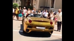 The image is taken from the video of the 'gold Ferrari' shared by Anand Mahindra.